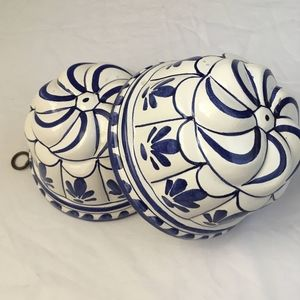 Vintage miniature white blue ceramic bundt pans